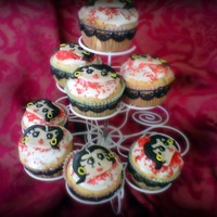 Betty Boop Cupcakes made with fondant for the little faces