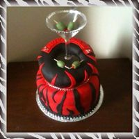 Red And Black With Martini Themed Cake Red and Black with Martini Themed Cake