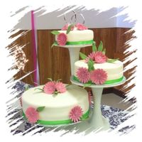 Whitegreen And Pink Wedding Cake With Pink Daisies White,Green and Pink Wedding Cake with Pink Daisies