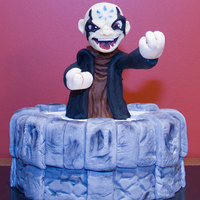 "Skylanders - Kaos And Portal 8"" Chocolate fudge and red velvet cake, coated and filled with dark chocolate ganache and covered in fondant.'Kaos' made..."