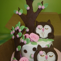 Owl Baby Shower Cake buttercream cake with fondant decorations