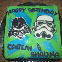 Star Wars Birthday Cake Brownies covered in fudge and modeling chocolate. All lines and letters are modeling chocolate. Darth Vader and Storm Trooper are Color...