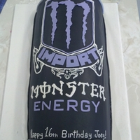 Monster! Monster Energy drink.Fondant, cut-outs, piping.