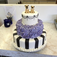 French-Ish Cake With Pug Toppers Did this for a contest at work. Won 1st place at a bridal show! Sorry for the bad background :)