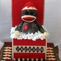 Sock Monkey Cake Monkey is made from rice krispie treats. This was so much fun to make! Thanks for looking.