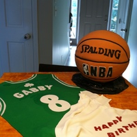 Basketball Cake This was for one of my nieces for her birthday. Big Celtics fan. The basketball is 1/2 cake (carved) 1/2 styro. Had quite a few issues with...