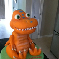Buddy The Dinosaur From Dinosaur Train Buddy the dinosaur from Dinosaur Train. Head carved from RCTs, arms and legs are molded from RCTs, the belly is all cake. Thanks for...