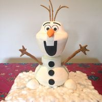 Olaf! I made this for my daughter'a sixth birthday. Fondant icing on the head, buttercream on the body. Gumpaste arms and hair. :)