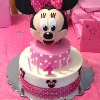 Minnie Mouse Birthday Cake I made this cake for my daughter's 4th birthday...she loved it! :) Minnie's head is fondant and the cake is covered in...