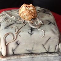 Alien Facehugger & Egg Cake Chocolate cake, split, filled and covered in chocolate buttercream and covered in fondant icing. All decorations made from fondant.Made for...
