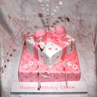 Pretty In Pink - Parcels And Ribbons Cake Second attempt at this pretty cake. I prefer this more girlie colour and gave it a good going over with lustre dust for extra girlieness....
