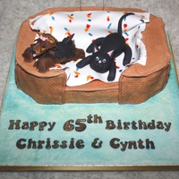 Cat And Dog In A Basket Chocolate chip sponge, covered in fondant with fondant models. Groovy number sparklers - shame I don't have a photo of them lit.For...
