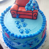 Blue's Clues Birthday Cake Blue's Clues red velvet cake iced in buttercream with a cream cheese filling.