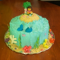 Dora Saves The Mermaids   Buttercream and fondant. Dora candle