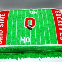 "Ohio State University Cake Chocolate pudding cake with chocolate BC, fondant accents. ""40 yard line"" is the client's age. TFL!"