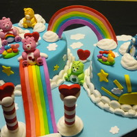 Care Bear Cake Chocolate mud and rainbow cakes.