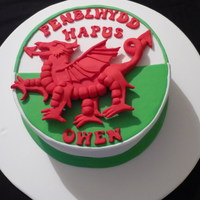 Welsh Flag Cake   Chocolate mud cake with a hand modelled Dragon representing the Welsh Flag.