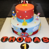 Mickey Mouse Clubhouse   buttercream and fondant cake for Thomas's first birthday