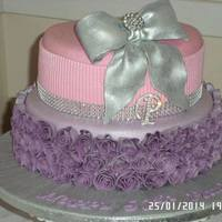 Girly 50Th *Ruffle roses, stripes, bow, diamante, silver, pink, purple