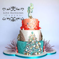 Modern Beach Wedding Cake  I entered this in the North Texas Cake Show and won 2nd place in the Adult Advanced wedding Tiered division.Seahorses are gumpaste. All...