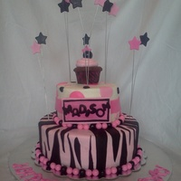 Pink Zebra A cake for a girl's 14th birthday.