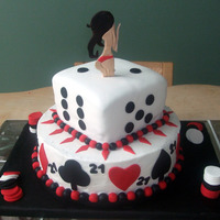 21St Birthday Casino Style Cake 2 tiered casino style cake, covered in fondant and decorated with fondant cut-outs. Pin-up girl was carved out by hand and made of fondant...