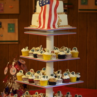 Eagle Scout Display Cupcake tower for my son's Eagle Scout ceremony. Many thanks to PattyT, not only for the idea of making toppers of badges on chocolate...