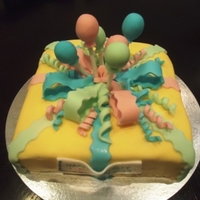 Celebration Chocolate spongewith chocolate buttercream and fondant. For 3 yr old twins - a boy and a girl.