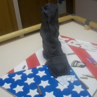 This Is A Paratrooper Boot Cake I Made For My Husbands Birthday 101St Airborne And Two Purple Hearts The Cake Is The Boot I Covered It This is a paratrooper boot cake I made for my husband's birthday. 101st Airborne and two purple hearts. The cake is the boot. I...