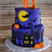 "Halloween Theme Birthday Cake 6 Round Over 8 Round Handcut Spooky Houses Bats Moon Hand Painted Trees Gumpaste Jack O Lanterns An Halloween theme birthday cake -- 6"" round over 8"" round; handcut spooky houses, bats, moon; hand painted trees; gumpaste Jack O&#..."