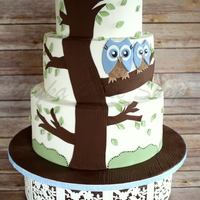 "Owl Baby Shower Cake 6""-8""-10"" tiers"
