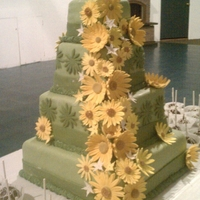 Sage Wedding Cake With Yellow Daisies   My first wedding cake
