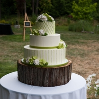 Green And White Wedding Cake Sugar Flowers.