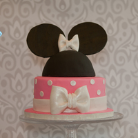 Minnie Mouse Birthday Cake Pink and White Minnie Mouse Birthday Cake