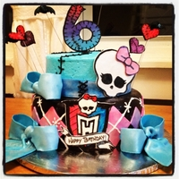 Monster High Top tier is Buttercream and bottom is fondant. Monster High Logo is hand painted and all other decorations are fondant/gumpaste mix