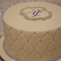 Sweet And Simple One Tier Wedding Cake Quilted Fondant With Hand Painted Monogram Encrusted In Dragees Purple Fondant Pearl Boarder Sweet and Simple one tier wedding cakeQuilted fondant with hand painted monogram encrusted in drageespurple fondant pearl boarder