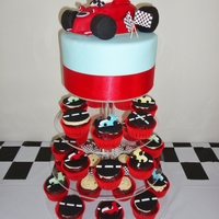 Roary The Racing Car My son's 3rd Birthday Cake, Roary the Racing Car with Racing Car and Road Cupcakes