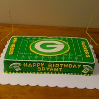 Green Bay Packers Birthday Cake for a 14 yr old Packers fan. worde, jerseys and Packers symbol are MMF. Hubby did a little sodering to make some home made goals....
