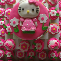 Hello Kitty Cake And Cupcakes Hello Kitty cake and coordinating cupcakes made with fondant.
