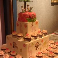 Pink Girl Monkey Cake And Coordinating Cupcakes