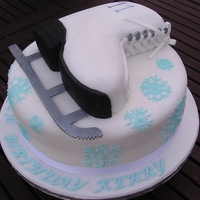 Ice Skate Boot Ice skate birthday cake with matching cupcakes