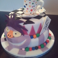 Mad Hatters Tea Party Vanilla & chocolate marble sponge, fondant all edible, made for a unbirthday mad hatter tea party.