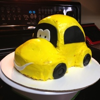 Slugbug Car Cake   Red Velvet with Cream Cheese Frosting, MMF accents