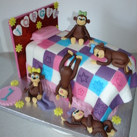 5 Monkeys In A Bed Fondant Cake (Dec 2014) I Loved making this cake. So cute. :D Made everything from Fondant/Gumpaste. The headboard is made from a cake board covered in...