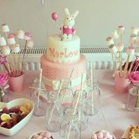 1St Birthday Bunny Fondant Cake (Jan 2015) Made everything from Fondant/Gumpaste. The top tier was a dummy cake so the customer could keep it :D Love this cake. Hope you...