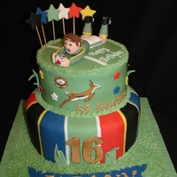 South African Rugby Fondant Cake