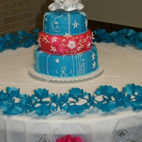 Wedding Cake I made this wedding cake for a couple the wanted the colors to be close to cotton candy pink, and blue topaz. I think I got pretty closer...