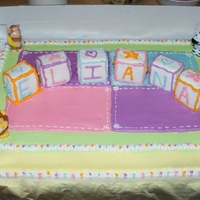 Baby Shower 1/2 sheet white cake dyed it pink and covered with homemade bc