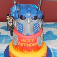 Transformers (Optimus Prime)  The only non edible part of this cake are the mask eyes, for which I used the lenses of a kid's sunglasses. The mask is chocolate cake...