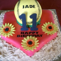 11Yr Old Bday Cake This young lady wanted a hot pink home plate with softball and gerber daisy. The home plate is swirl cake with strawberry mmf. The softball...